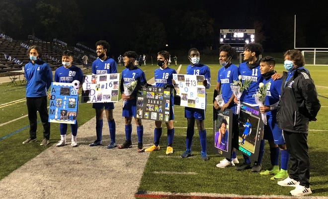 Seniors on the Leominster boys' soccer team gather after their 1-0 victory over Shrewsbury on Wednesday, Oct. 28.