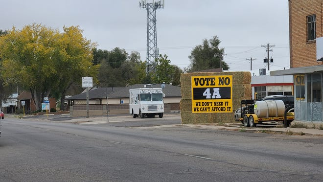 Hay bales hosted in and around Rocky Ford encourage residents to vote no on local bond proposal 4A, which has been proposed to fund a facility improvement project for Rocky Ford School District.