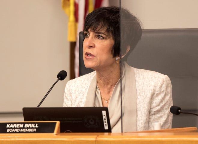 Palm Beach County School Board member Karen Brill talks during a school board meeting in November 2020.