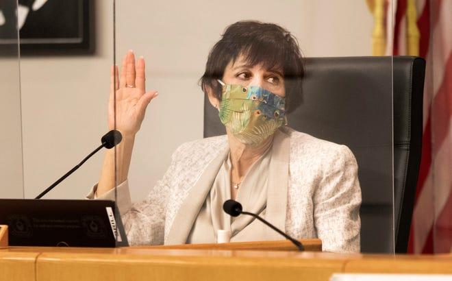 Palm Beach County School Board member Karen Brill at a meeting in November.