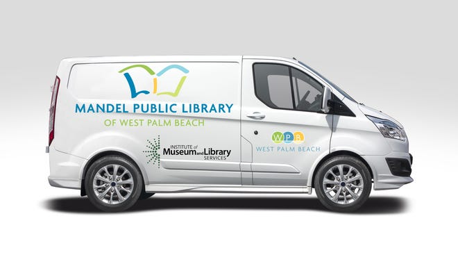 West Palm Beach's Mandel Public Library won a $100,000 CARES grant for a mobile library van, seen here in an artist's rendering. COURTESY CITY OF WEST PALM BEACH