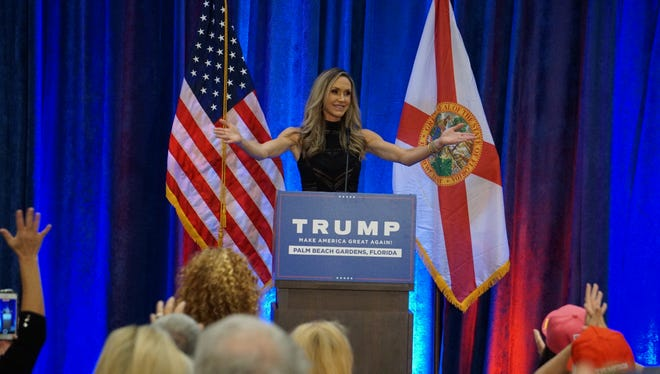 Lara Trump speaks to Donald Trump supporters Monday at a rally in Palm Beach Gardens.