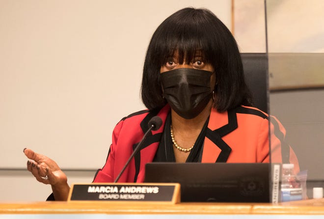 School Board member Marcia Andrews stands behind the vote to mandate masks in schools despite threats to her salary from the state.