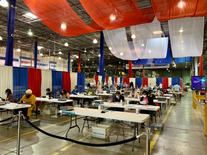 Palm Beach County's ballot tabulation warehouse received a red-white-and-blue makeover for the 2020 election.