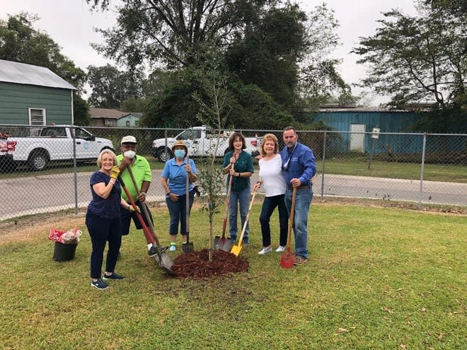 Member, Patricia Ramirez, City Councilman, Oscar Mellion, Garden Club President, Donna Carville, member, Peggy Beilenson, Project Chairman, Linda Panepinto and Mayor Ed Reeves. Not pictured is member, Arlette Rodrigue and City Works Manager & Chief Operating Officer, Richard Alleman.