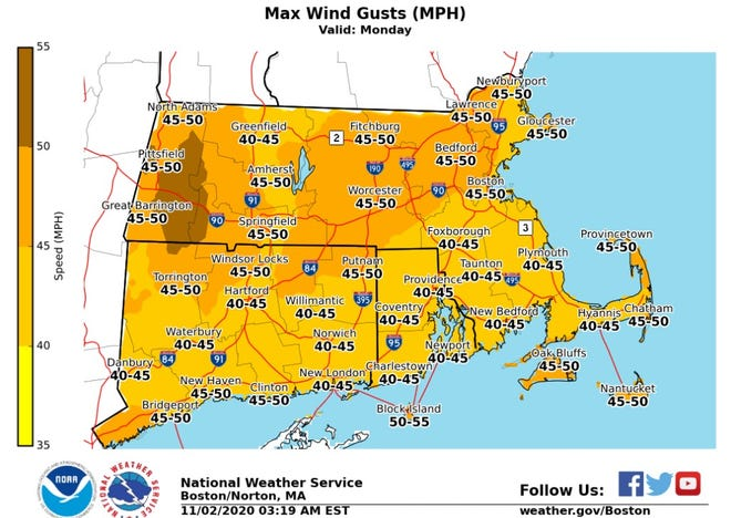 The National Weather Service says the wind could gust up to 55 mph on Block Island, 45 mph in other parts of Rhode Island.