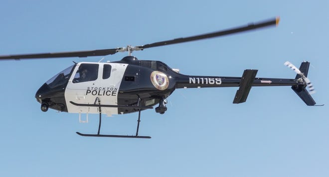 The Stockton Police Department introduced its Falcon One-Zero helicopter in 2018.