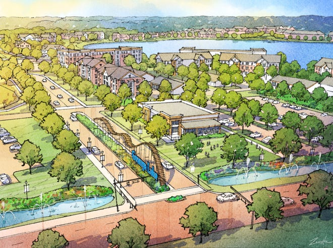 The planned Geauga Lake District would feature a small roller coaster in the median of a boulevard entering the mixed-use development. Industrial Commercial Properties announced it has bought 337 acres that will encompass the development.