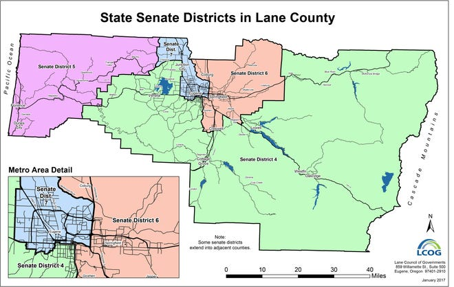 Four different state senate districts are included in the bounds of Lane County.