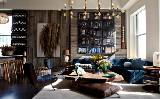 OPPOSITES ATTRACT: Designer James Huniford paired reclaimed wood and plush velvet to create the kind of design tension that can hold rooms like this together. (Photo by Nick Johnson)