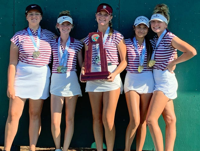 The Riverview High girls golf team pose with the championship trophy after winning the Class 3A state title Saturday at Mission Inn Las Colinas course Saturday at Howey-in-the-Hills.