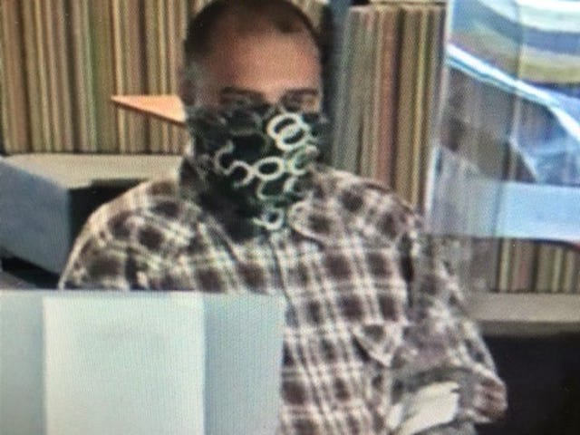 This image from a security camera shows the man suspected of robbing the TD Bank at 3450 Clark Road in Sarasota County on Nov. 2, 2020.