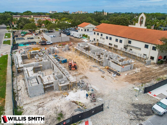 This aerial view of the Venice City Hall campus expansion project, as seen from near Harbor Drive and Granada Avenue, shows the structures for the new fire station, foreground, left; and building department annex, foreground right; as well as the location of a new, 1,000-kilowatt emergency generator, background.