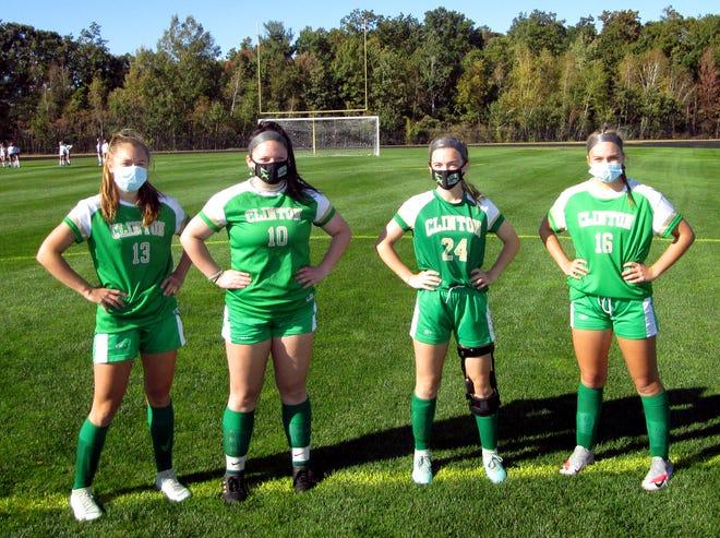 Clinton girls soccer team captains (from left) sophomore Ava Lemanski, senior Riley Michaud, senior Mia Houle and sophomore Ella Chouinard.