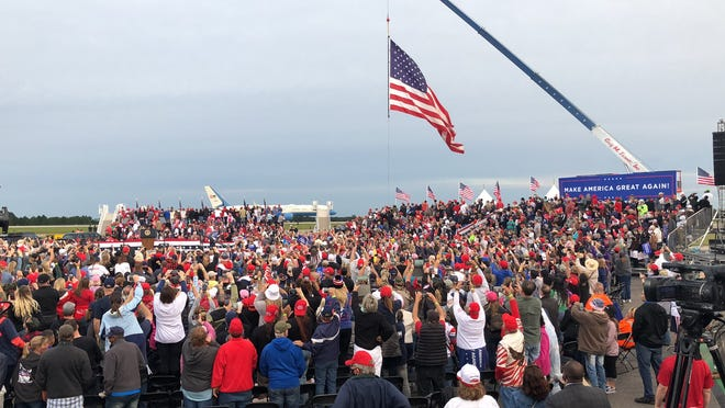 Thousands gathered Monday at Fayetteville Regional Airport as President Donald Trump held a campaign rally.