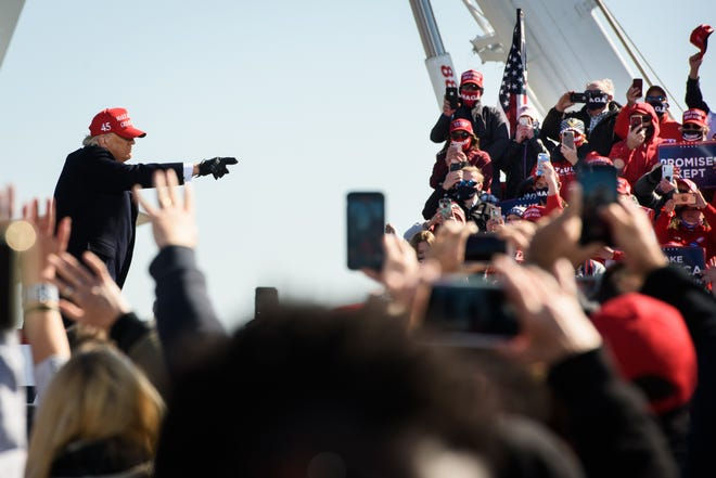 President Donald Trump holds a campaign rally at the Fayetteville Regional Airport on Monday, Nov. 2, 2020.