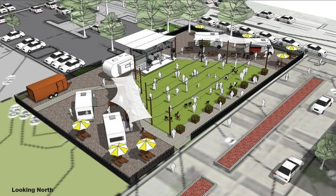 A rendering of Midpoint Park and Eatery shows the food truck park, music stage and parking lot that guests can soon visit. [Courtesy of Trimark Properties]
