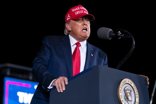 President Donald Trump speaks during a campaign rally at Miami-Opa-locka Executive Airport, Monday, Nov. 2, 2020, in Opa-locka, Fla.