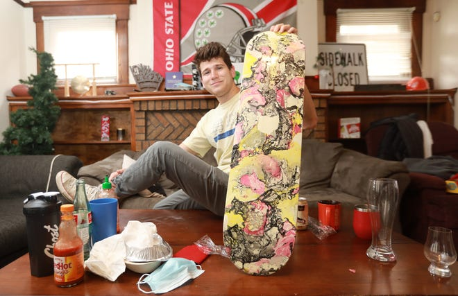 To help combat depression during the COVID-19 coronavirus pandemic, Zack Singer painted a skateboard. Singer is the president and founder of Mental Health Matters, an organization at Ohio State University that is trying to end the stigma of mental health.