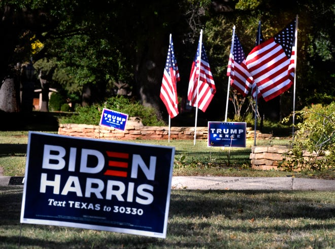 Trump-Pence signs can be seen in a yard next door to the Williams home on South Leggett Drive displaying Biden-Harris signs.  More political signs, mostly for the Republican ticket, can been seen on the street, though one house supports Democrat Tom Watson for Congress.