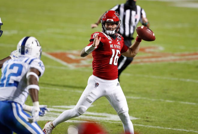 N.C. State quarterback Bailey Hockman (16) prepares to pass during the second half of N.C. State's 31-20 victory over Duke at Carter-Finley Stadium in Raleigh, N.C., Saturday, Oct. 17, 2020.