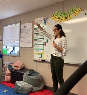 Sandra Dominguez teaches at Molina Elementary School in Camden. A native of Columbia, Dominguez teaches in English and Spanish as part of a partnership between Rowan University and the Camden Education Fund to place more teachers in city schools.