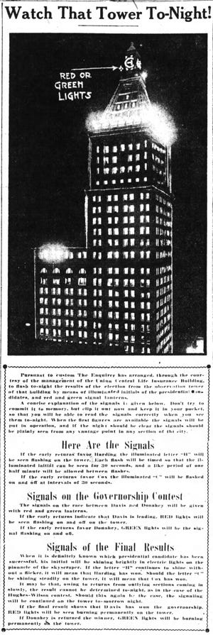 An article from The Cincinnati Enquirer, Nov. 2, 1920, showing how the newspaper signal election results by shining lights from the Union Central Life Insurance Building.