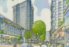 An artisit's rendering of the planned new development near UC's campus called The District at Clifton Heights