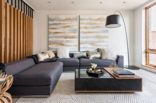 High-end wood trims and features create a luxury look in this living space.