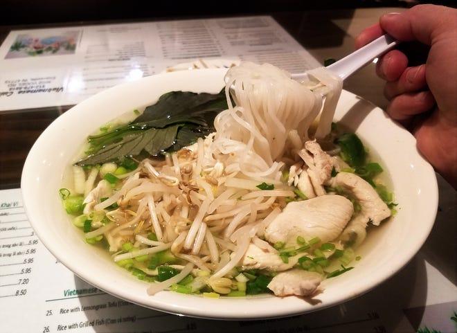 """vietnamita """"Sopa de fideos con pollo"""" O pho ga en la cocina vietnamita."""
