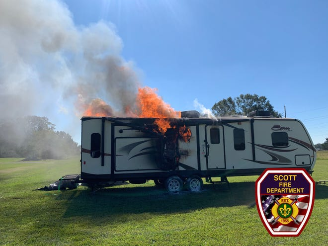 On Saturdayat 12:49 p.m., Scott firefighters respondedto a camper on fire in the 100 block of St. Paul Avenue. A neighbor noticed the camper, which was located next to a home, on fire, hooked it to his truck and pulled it away from the home.