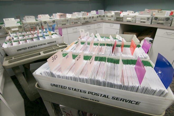 More than 8,000 absentee ballots are assembled in a room at the Genoa Township Hall Monday, Nov. 2, 2020.