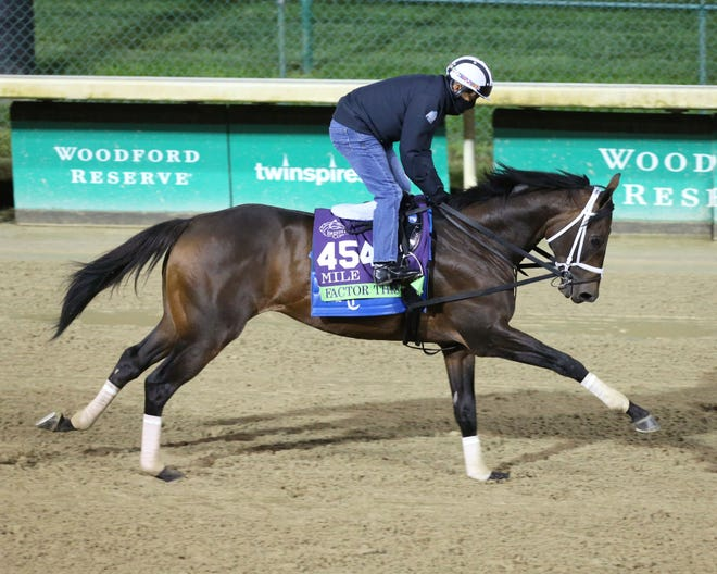 Trained by Brad Cox, Factor This is a contender for Saturday's Breeders' Cup Mile at Keeneland.