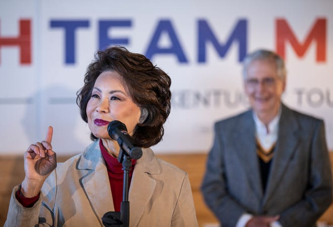 Elaine Chao fired up the crowd for her husband, Senator Mitch McConnell, at a rally at Gaffney's Farm in Versailles, Kentucky, on the eve of the election. Nov. 2, 2020