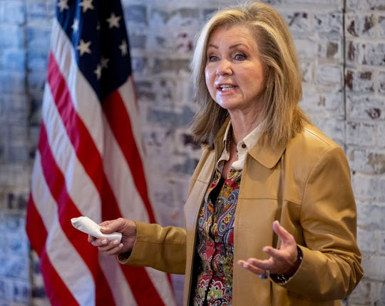 U.S. Sen. Marsha Blackburn speaks Monday, Nov. 2, 2020, while campaigning with Bill Hagerty at the Republican Party of Shelby County headquarters in Cordova.