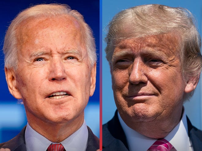 MATCHUP ELECTION 2020: On right, President Donald Trump (R) and presidential candidate Joe Biden (D).