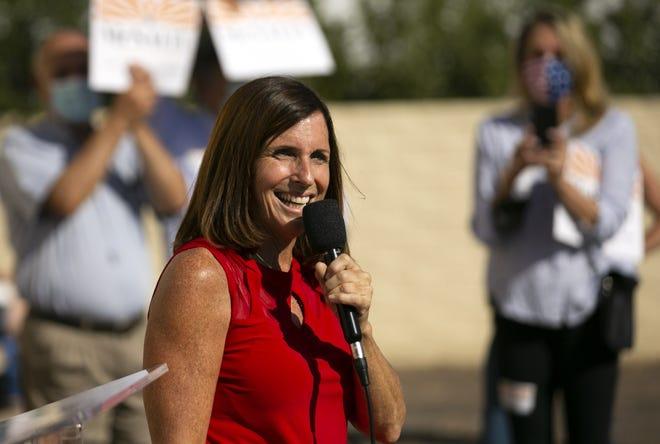 U.S. Sen. Martha McSally, R-Ariz., speaks during a campaign event at the Arizona Republican Party headquarters in Phoenix on Nov. 2, 2020.