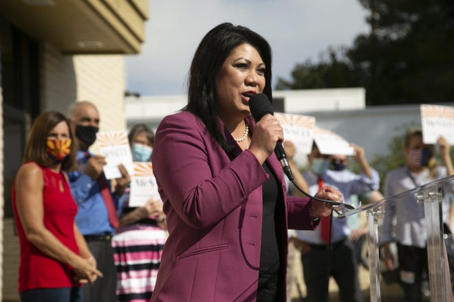 State Treasurer Kimberly Yee speaks during a campaign event at the Arizona Republican Party headquarters in Phoenix on Nov. 2, 2020.