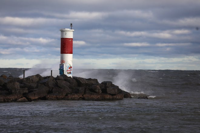 Waves on Lake Ontario are whipped up by west winds, Nov.2, 2020.