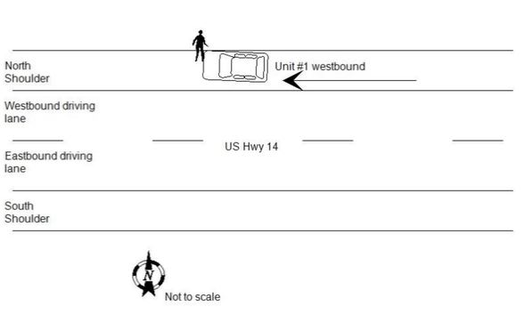 A crash diagram from the South Dakota Highway Patrol shows where Joe Boever was struck by Attorney General Jason Ravnsborg's vehicle.