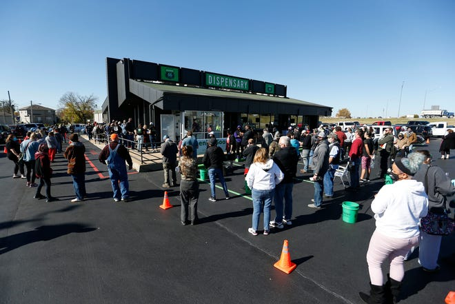 Cumulative sales at Missouri dispensaries, including Old Route 66 Wellness in Springfield shown here on its opening day, Nov. 2, 2020, have reached more than $113 million. Missouri medical marijuana regulators announced Sept. 16, 2021 that they transferred $6.8 million to a military veterans' care fund, as required by the state medical marijuana constitutional amendment.