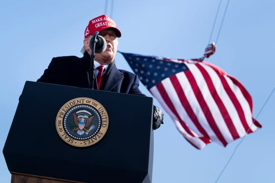 President Donald Trump speaks during a Make America Great Again rally at Fayetteville Regional Airport November 2, 2020, in Fayetteville, North Carolina.