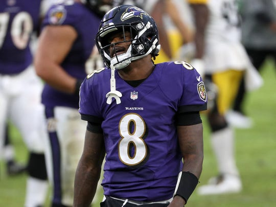 Quarterback Lamar Jackson #8 of the Baltimore Ravens reacts after the Ravens lost 28-24 to the Pittsburgh Steelers at M&T Bank Stadium on November 01, 2020 in Baltimore, Maryland.