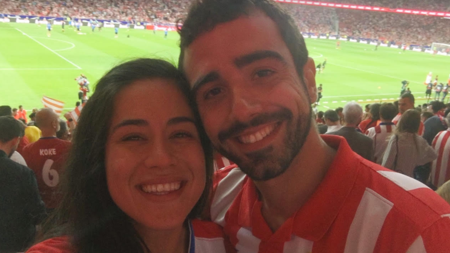 Felicia Beltran with her husband at the inaugural Atlético de Madrid game at the Wanda Metropolitano Stadium in 2017.