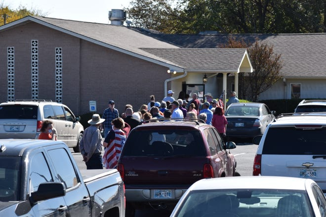 A line of voters stretches across the parking lot of First Baptist Church Lone Grove on Tuedsay. Police confirmed they were called to a polling place for reports of a disturbance, but responding officers reportedly found nothing wrong.