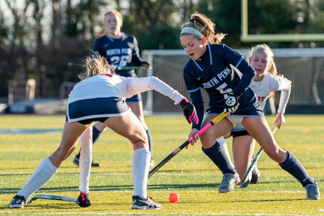 North Penn midfielder Erin O'Donnell comes up against Central Bucks East forward Caroline Suko during a District One Class 3A playoff game on Monday, November 2, 2020. CB East won, 2-1.