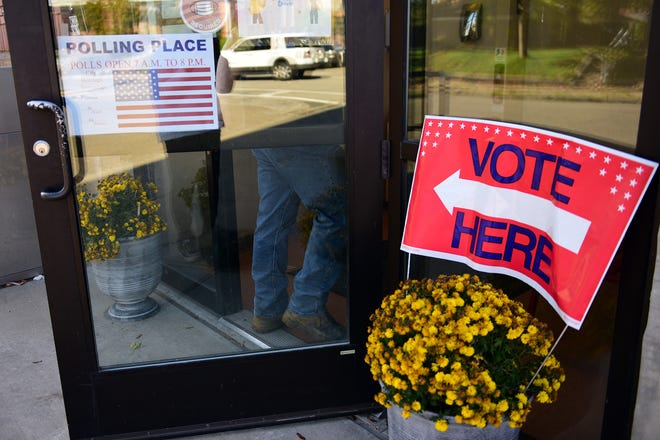 A voter heads into a polling place in Beaver County last year.