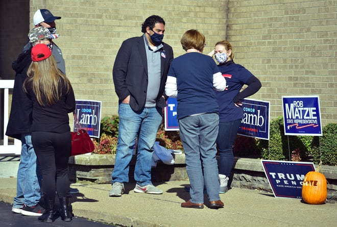 Josh Kail talks to supporters outside of St. Francis Cabrini Church in Center Township Tuesday.