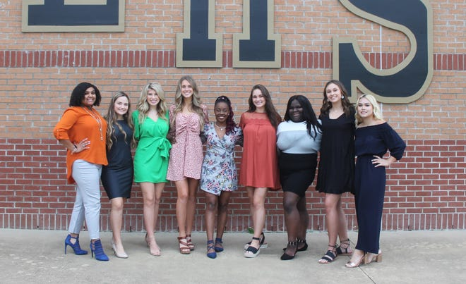 Leesville High School is proud to announce its 2020 Homecoming Court. Pictured are Freshmen Maid Layla Gamble, Junior Maid Saydi Toups, Senior Maid Payton Anderson, First Maid Chase Winstead, Queen Destiny Davis, Second Maid Maggie Martin, Senior Maid Kristina James, Junior Maid Faith Blakeney, and  Sophomore Maid Nickol Komsuprom.