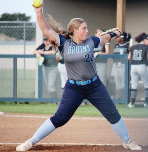 Sydney Price prepares to deliver a bullet during her junior season as a pitcher for Bartlesville High School.